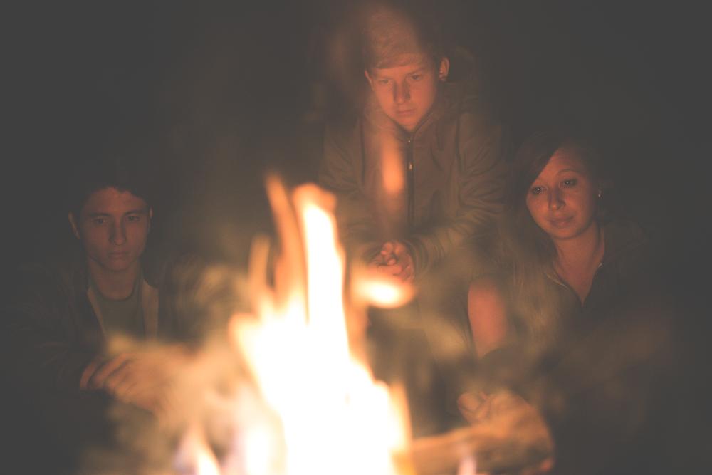Enjoying the fire in the backyard