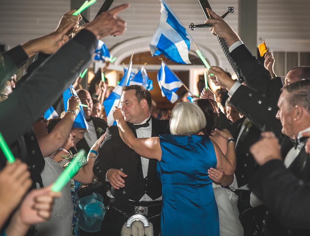 Scottish flag wedding exit