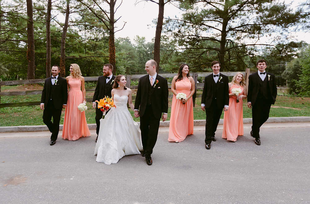 Wedding party walking