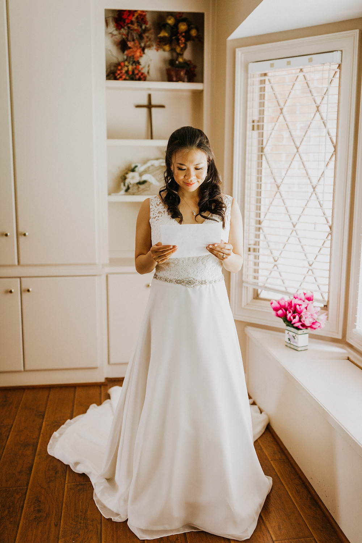 bride reads letter