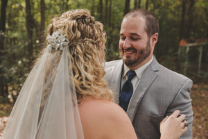 Groom's reaction during first look