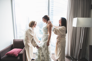 Getting ready with sister and mom