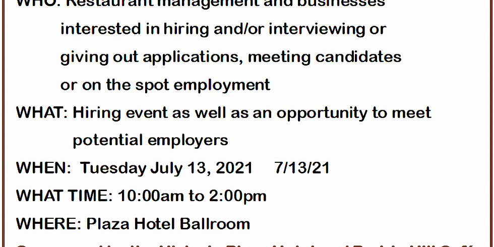 July Job Fair for Restaurants and Interested Businesses