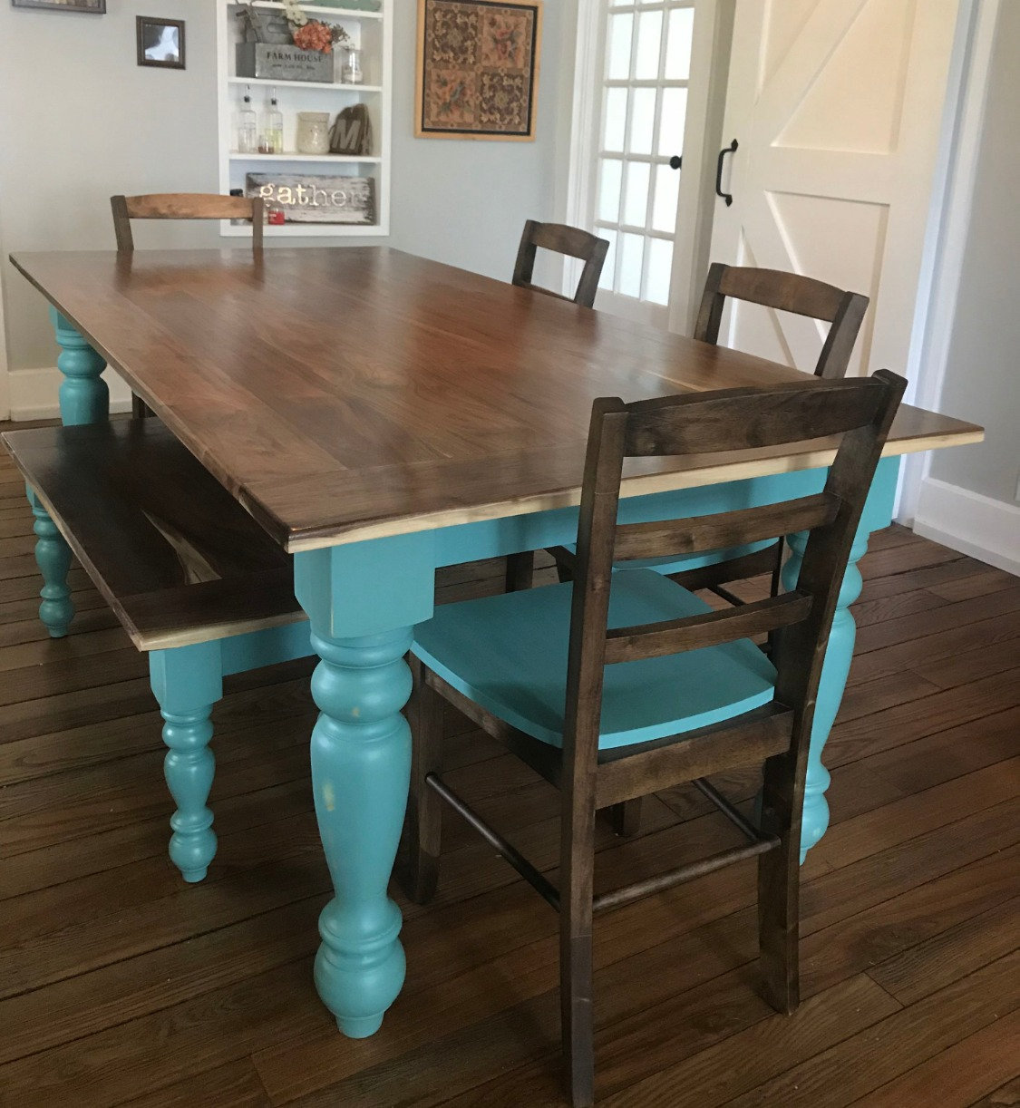 Awesome Walnut Farmhouse Table Bench Set Ncnpc Chair Design For Home Ncnpcorg