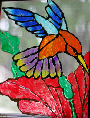 HummingBird on Glass By Rachel (12 years)