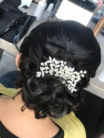 Updo with hairpieces