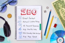 Seo and web development tips collection in a notebook, creative idea concept background with waterco