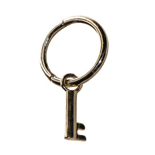 Solid Gold Key Charm Hoop Earring