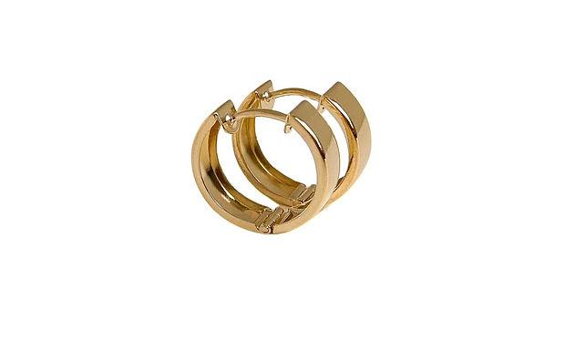 Solid gold huggie hoop earrings by Lucille London Jewellery