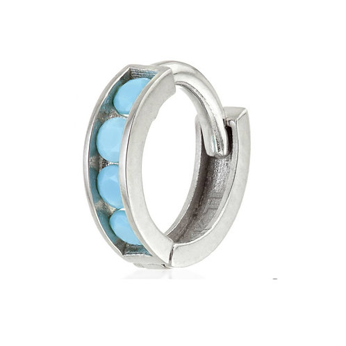 White Gold Turquoise Huggie Earring