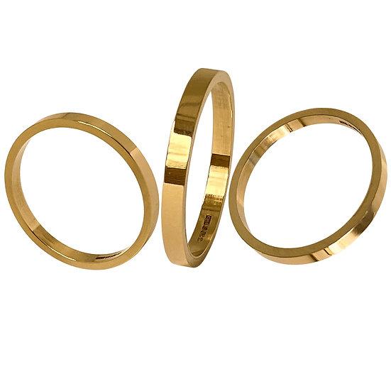 Set of 3 - 18ct Gold Stacking Rings
