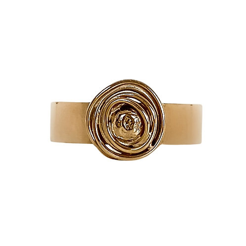 Gold Statement Abstract Ring - UK Ring Size N