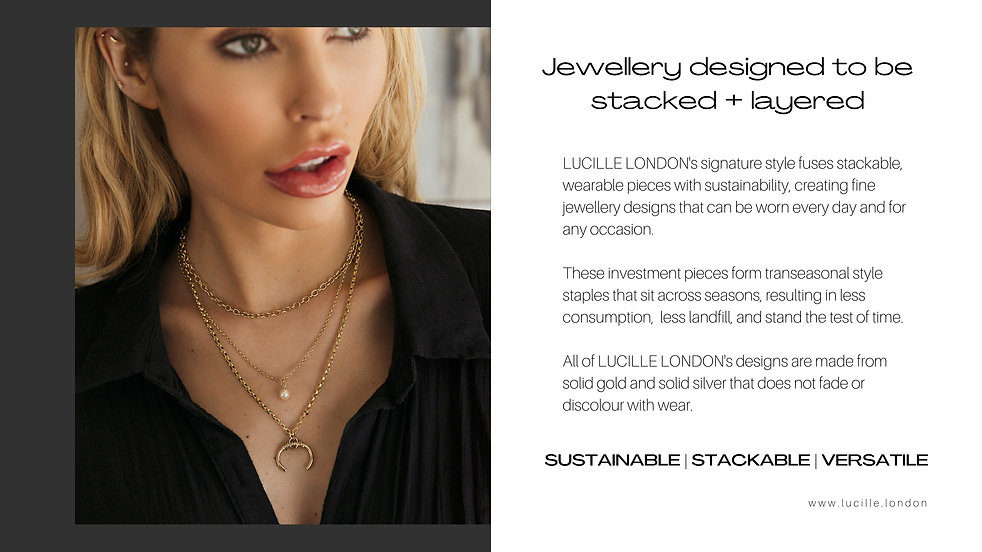 Amy Neville wearing Lucille London layered necklaces for the latest jewellery campaign and lookbook