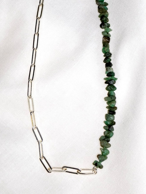Raw Emerald Silver Paperclip Chain Necklace