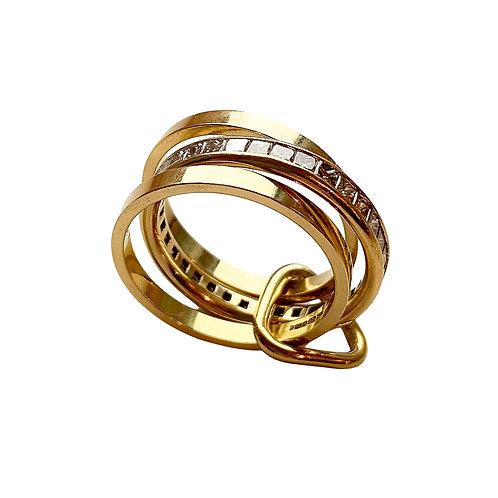 18-Carat Gold Triangle Diamond Eternity Ring