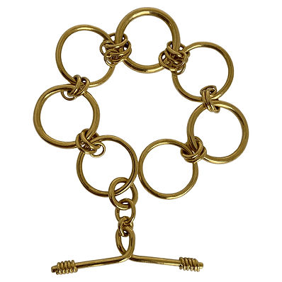 18-carat gold large link Warrior bracelet by Lucille London jewellery.