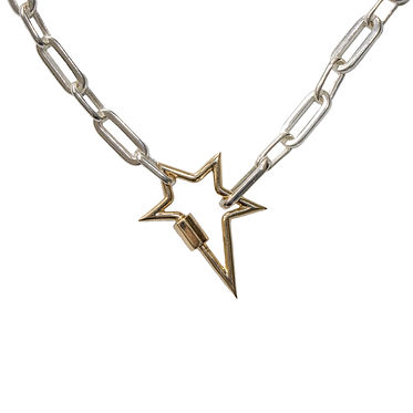 Silver chain necklace with gold star enh
