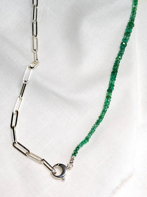 Emerald Silver Paperclip Chain Necklace