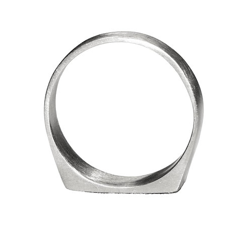 Brushed Silver Signet Ring