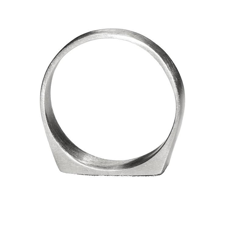 Brushed Silver Signet Ring - UK Size K