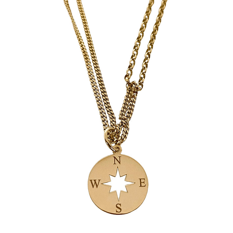 Solid Gold Compass Pendant On Multi-Chain Layered Necklace