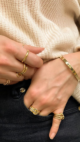 Solid gold stacking ring sets