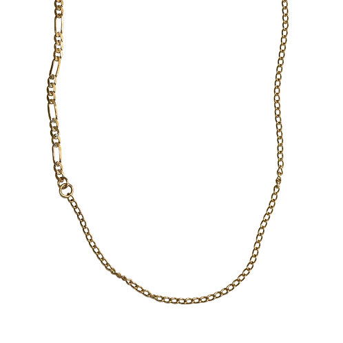Long Solid Gold Mixed Chain Necklace