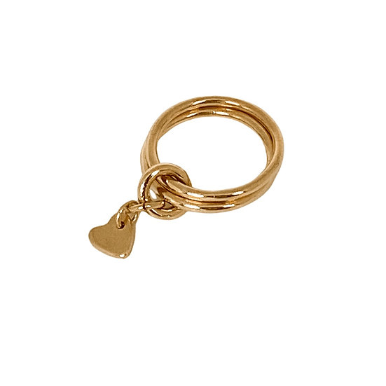 Gold Pinky Ring + Heart Charm