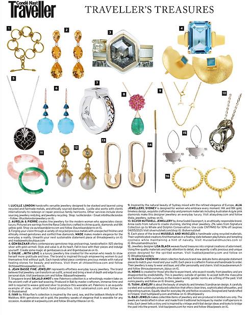Conde Nast Traveller magazine featuring Lucille London's 18-carat gold Warrior bracelet