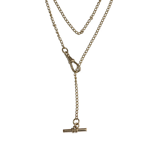 Solid Gold Warrior Lariat Necklace