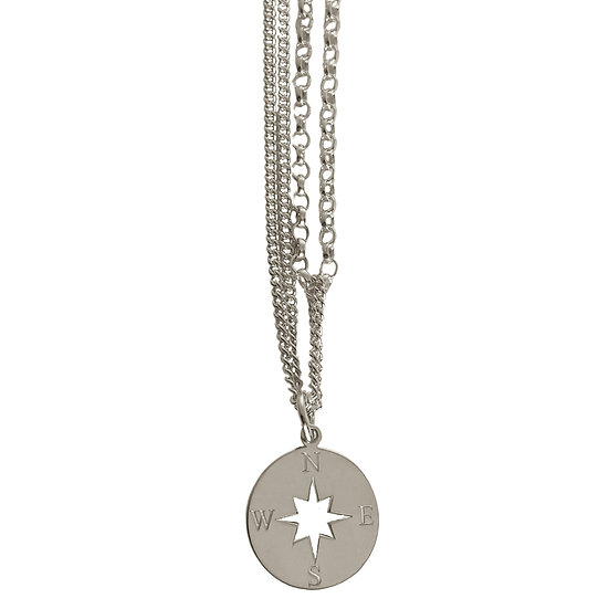 Silver Compass On Multi-Chain Necklace