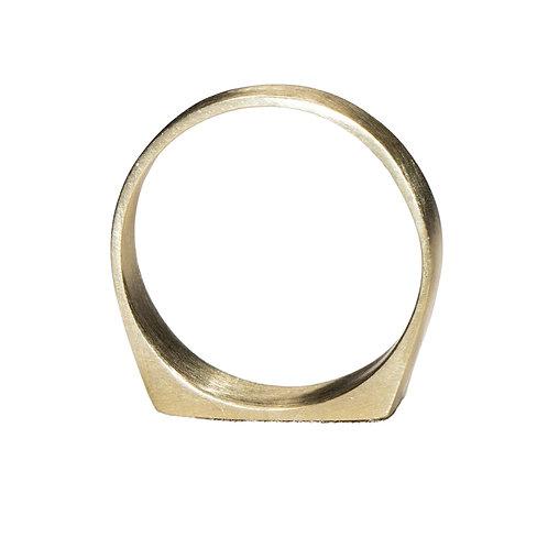Brushed Gold Signet Ring
