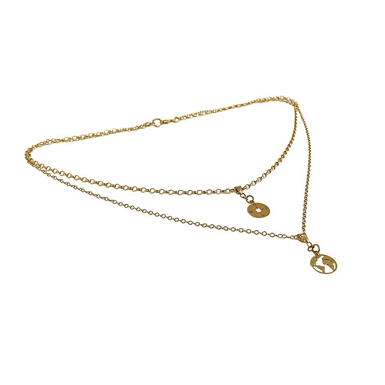 Solid Gold 'World Traveller' Necklace