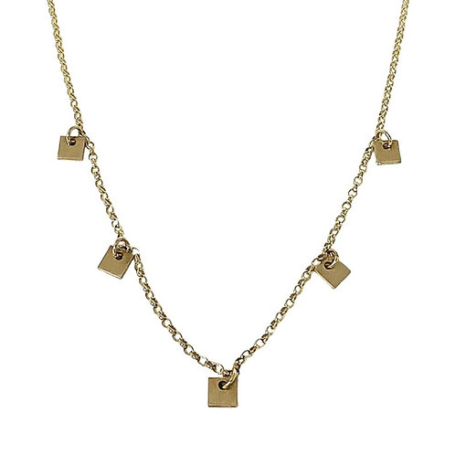 Solid Gold Square Charm Necklace