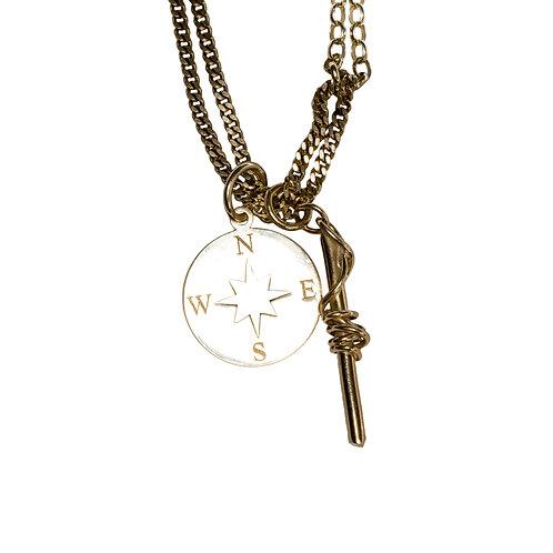 Double Pendant Multi-Chain Necklace