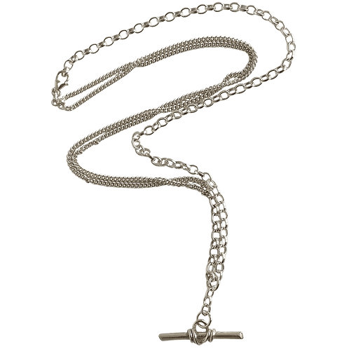 Silver Warrior Pendant On Adjustable Multi-Chain Necklace