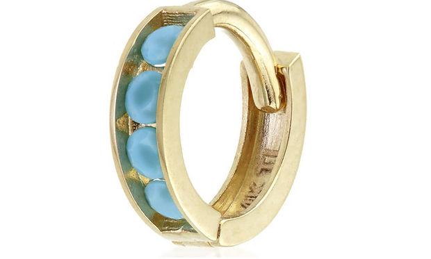Turquoise huggie hoop earring Tish Lyon.