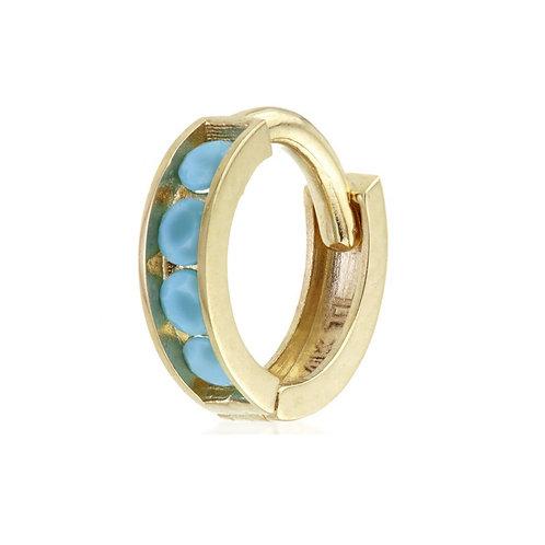 Yellow Gold Turquoise Huggie Earring