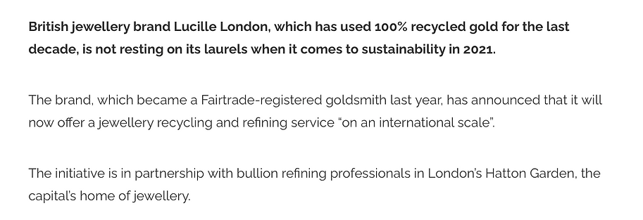 Professional jeweller magazine article about Lucille London launching their jewellery recycling services