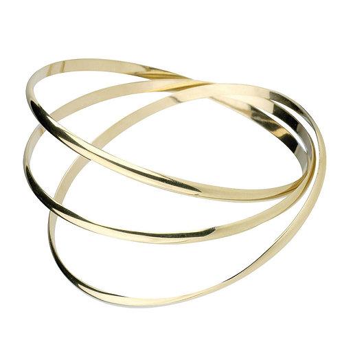 9-Carat Gold Triple Band Bangle Bracelet