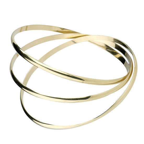 9-Carat Gold Triple Band Bangle Bracelet