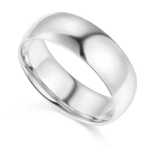 14k White Gold 7-mm Comfort-fit Polished Wedding Band