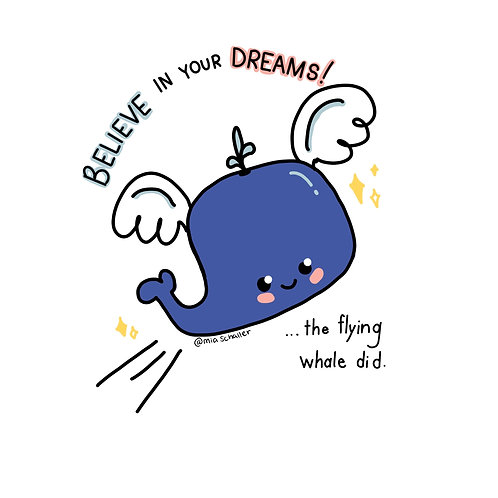 Flying Whale Sticker