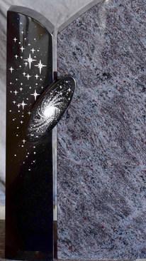 Granit Grabsteine Mittlböck Natursteine Material Jet Black mit Bahama Blue Dark Orion dunkel