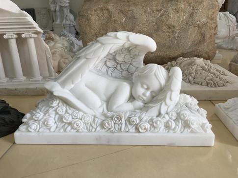 Engel Marmor Statuen Figuren Mittlböck Natursteine Material Weißer Marmor Babyengel 3