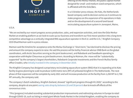 The Kingfish Company aiming for an IPO on the Oslo Merkur Market