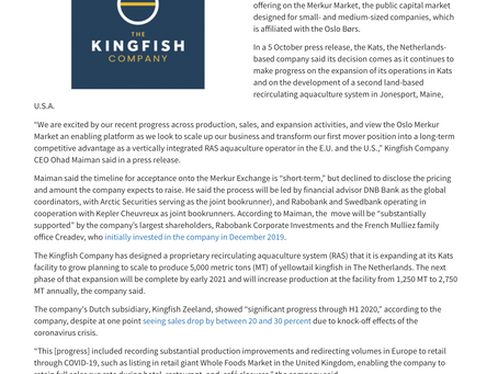 The Kingfish Company aiming for an IPO on the Oslo Merkur Market