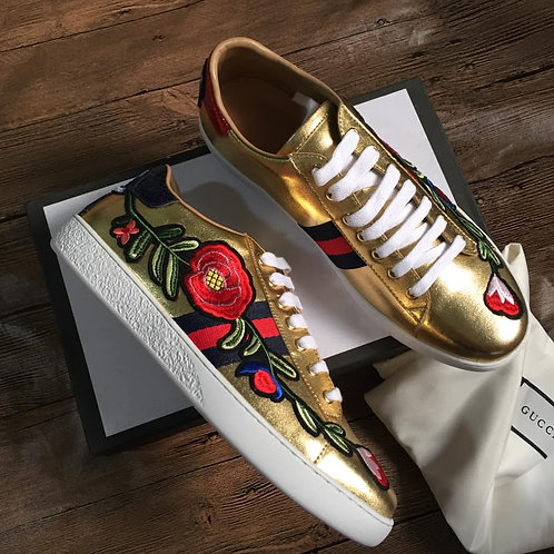 GUCCI Gold Floral Sneaker