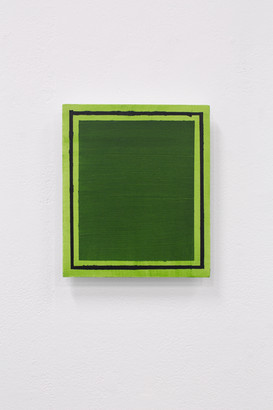 Green Frame (Deliberate Pictures), 2020, acrylic on board, 25cm x 21cm.