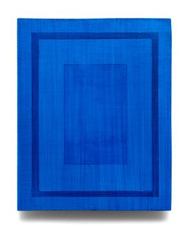 Untitled (Blue/Blue Frame), 2021, acrylic on board, 25cm x 20cm.